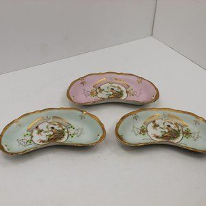 Victorian Bone Dishes (3) Gold Gild Woman & Child